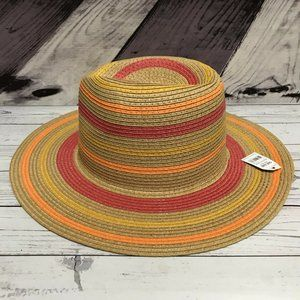 Time Tru Multi Stripe Straw One Size Floppy Hat